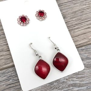 Set of 2 Vintage Costume Silver Tone Red Earrings